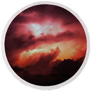 Dying Storm Cells With Fantastic Lightning Round Beach Towel