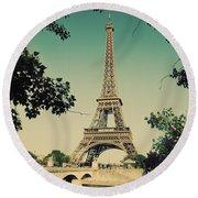 Eiffel Tower And Bridge On Seine River In Paris Round Beach Towel
