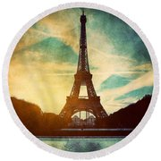 Eiffel Tower In Paris Fance In Retro Style Round Beach Towel by Michal Bednarek