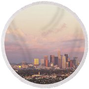 Elevated View Of City At Dusk, Downtown Round Beach Towel