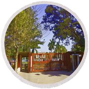 Entrance Gate Of Humayuns Tomb In Delhi  Round Beach Towel