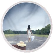 Farewell Round Beach Towel by Joana Kruse