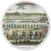 Flagellants Middle Ages Round Beach Towel