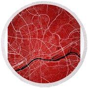 Frankfurt Street Map - Frankfurt Germany Road Map Art On Colored Round Beach Towel