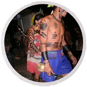 Fulnio Indians Of Brazil Round Beach Towel