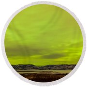 Green Glow Of Northern Lights Or Aurora Borealis Round Beach Towel