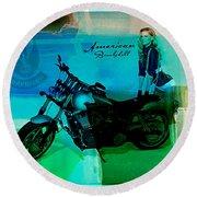 Harley Davidson Ad Round Beach Towel