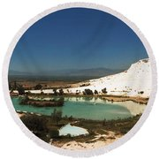 Hot Springs And Travertine Pool Round Beach Towel