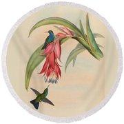 Hummingbirds Round Beach Towel