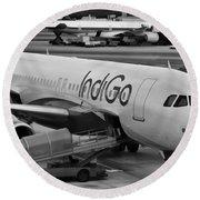 Indigo Aircraft Getting Ready In Changi Airport Round Beach Towel