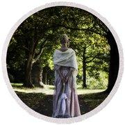 Jane Austen Round Beach Towel by Joana Kruse