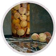Jar Of Peaches Round Beach Towel