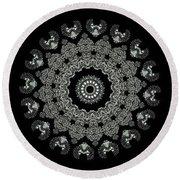 Kaleidoscope Ernst Haeckl Sea Life Series Black And White Set 2  Round Beach Towel