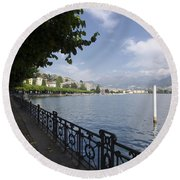 Lake Front With Trees Round Beach Towel