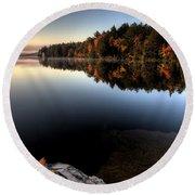 Lake In Autumn Sunrise Reflection Round Beach Towel