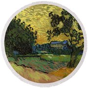 Landscape At Twilight Round Beach Towel
