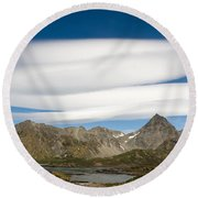 Lenticular Clouds Round Beach Towel
