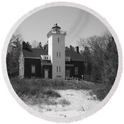 Lighthouse - 40 Mile Point Michigan Round Beach Towel