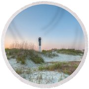 Sullivan's Island Dunes To Lighthouse View Round Beach Towel