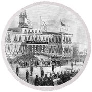 Lincoln's Funeral, 1865 Round Beach Towel