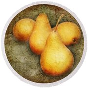 4 Little Pears Are We Round Beach Towel