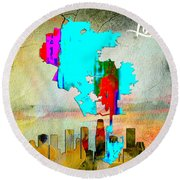 Los Angeles Map And Skyline Round Beach Towel