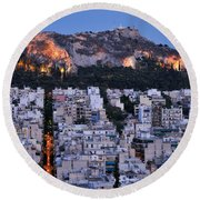 Lycabettus Hill During Dusk Time Round Beach Towel
