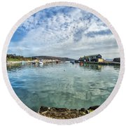 Lyme Regis Harbour Round Beach Towel