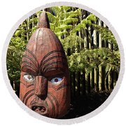 Maori Carving Round Beach Towel by Les Cunliffe