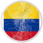 Medellin Street Map - Medellin Colombia Road Map Art On Colored  Round Beach Towel