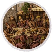 Medieval Accountants, 1466 Round Beach Towel