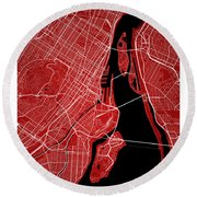 Montreal Street Map - Montreal Canada Road Map Art On Colored Ba Round Beach Towel