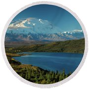 Mount Denali, Previously Known Round Beach Towel