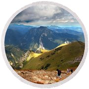 Mountains Stormy Landscape Round Beach Towel