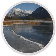Mt. Rundle And Vermillion Lake Round Beach Towel