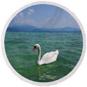 Mute Swan. Sirmione. Lago Di Garda Round Beach Towel