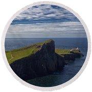 Neist Point Lighthouse Round Beach Towel
