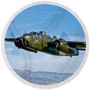 North American B-25g Mitchell Bomber Round Beach Towel