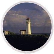 Northhead Ilwaco Lighthouse Round Beach Towel