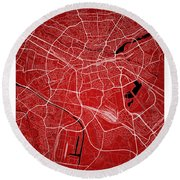 Nuremberg Street Map - Nuremberg Germany Road Map Art On Colored Round Beach Towel