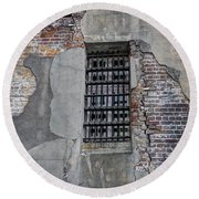 Vintage Jail Window Round Beach Towel