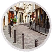 Paris Street Round Beach Towel by Elena Elisseeva