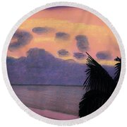 Pastel Palm Tree Sunrise Round Beach Towel