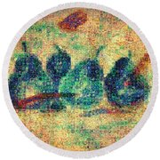 4 Pears Mosaic Round Beach Towel
