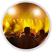 People On Music Concert Round Beach Towel