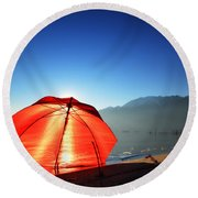 Red Umbrella Round Beach Towel