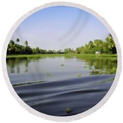 Ripples On The Saltwater Lagoon Round Beach Towel