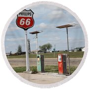 Route 66 - Adrian Texas Round Beach Towel