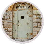 Route 66 - Macoupin County Jail Round Beach Towel