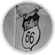 Route 66 - Mclean Texas Round Beach Towel